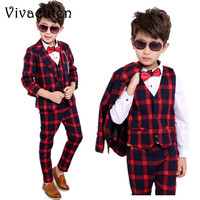 Brand Flower Boys Formal Suits for Weddings Boys Plaid Blazer Vest Pants 3pcs Tuxedo Kids Gentleman Party Clothing Sets F019