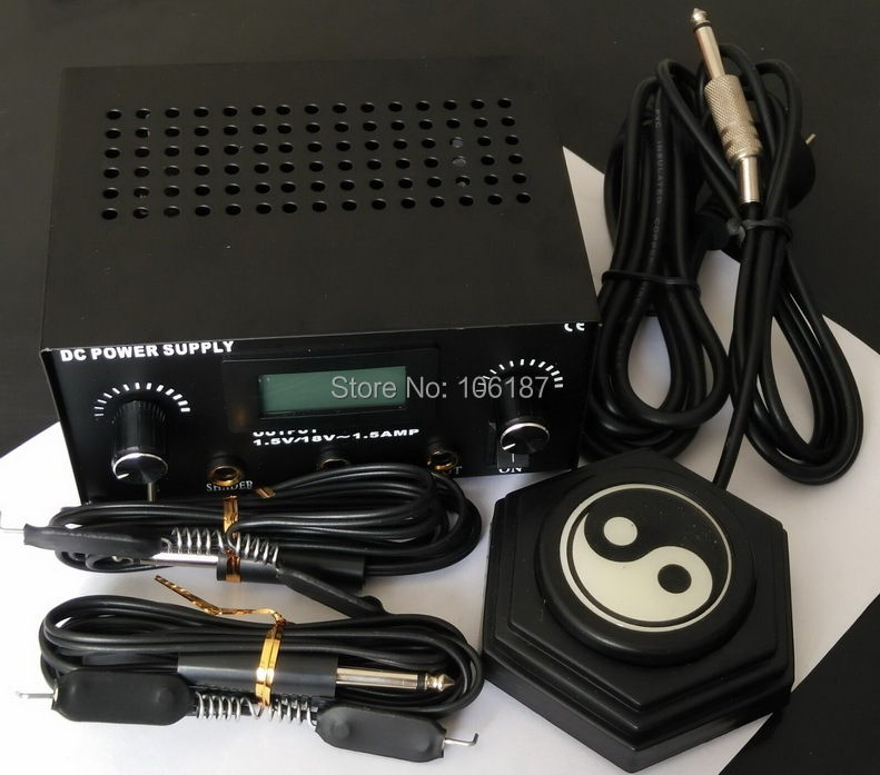 Pro Digital Dual Black Tattoo Machine Power Supply Kit w/ 2 Clip Cords & 1Pc Yinyang Tattoo  Foot Pedal & Your Country Plug