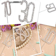 Diamante Dual Numeral 10/18/30/40/50/60/70/80 Monogram Cake Toppers for Wedding Birthday Number Beautiful(China)
