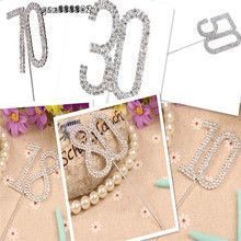 Diamante çift sayısal 10/18/30/40/50/60/70/80 Monogram kek Toppers için düğün doğum günü numarası güzel