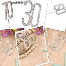 Diamante podwójna cyfra 10/18/30/40/50/60/70/80 Monogram ciasto wykaszarki na ślub numer urodzinowy piękne