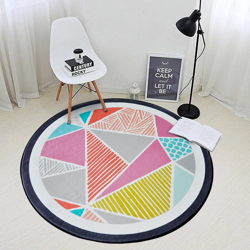Nordic Style Round Carpet for Living Room Geometric Patterns Area Rug Kids Play Mat Popular Bedroom Floor Mat Computer Chair Rug