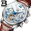 Мужские механические Автоматические часы BINGER Tourbillon  роскошные кожаные часы от ведущего бренда  военные мужские часы Relogio