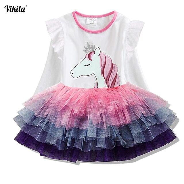 VIKITA בנות נסיכת שמלות ילדים Cartoon Vestidos ילדי סתיו שמלת ילדים שמלה עבור בנות ארוך שרוול Unicorn שמלות