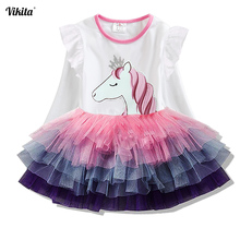 Vestidos de princesa VIKITA para niñas Vestidos de dibujos animados para niños vestido de otoño para niñas Vestidos de unicornio de manga larga