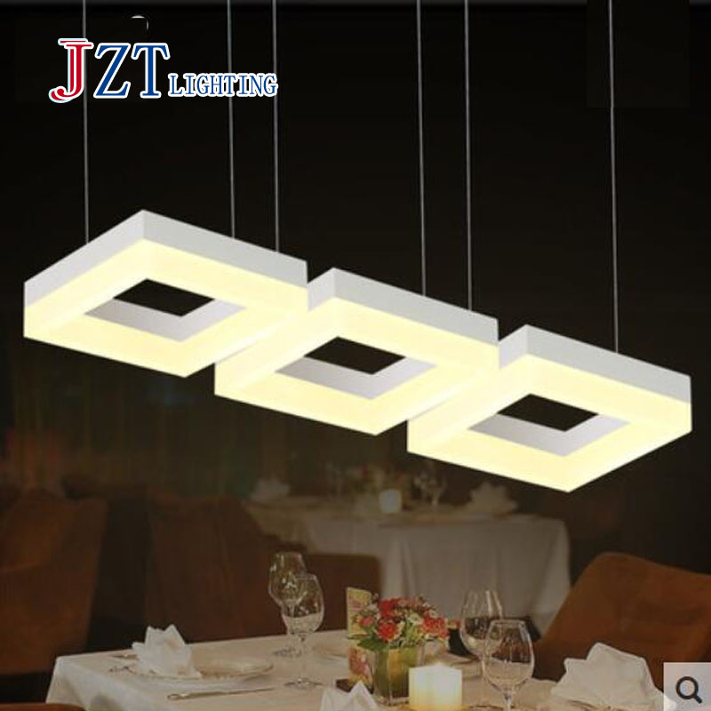 T 2016 New Rectangular Simple Acrylic Luxury Pendant Light Fashion Modern Creative Lamps For Dining Room Led Chip DHL FREE