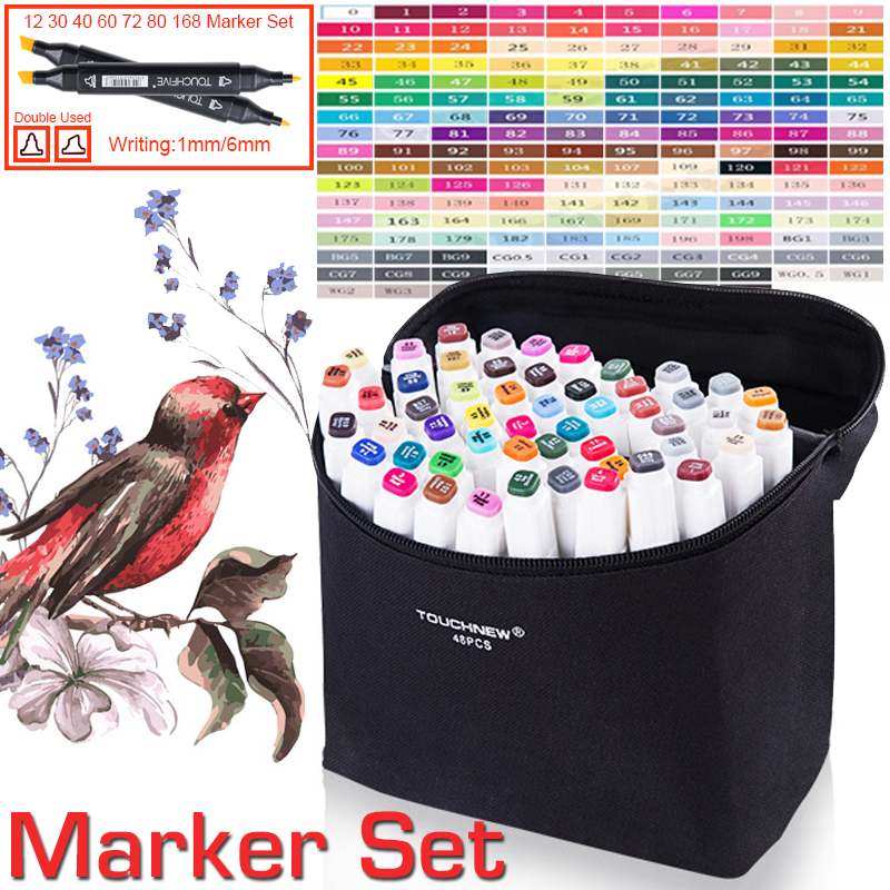168 Colors Pen Marker Set Art Supplies Dual Head Sketch Markers Brush Pen for Draw Fashion Clothing School Student Design sketch marker pen 218 colors dual head sketch markers set for school student drawing posters design art supplies