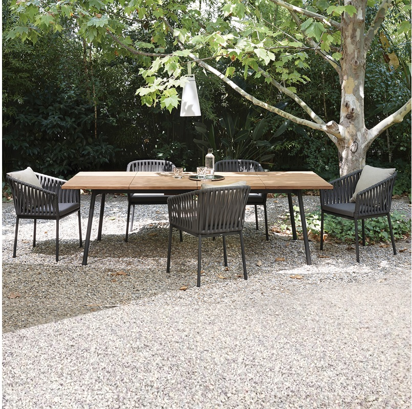marine grade rope braided outdoor chairs x6 and table for alfreco dinning seat cushion and back pillow included