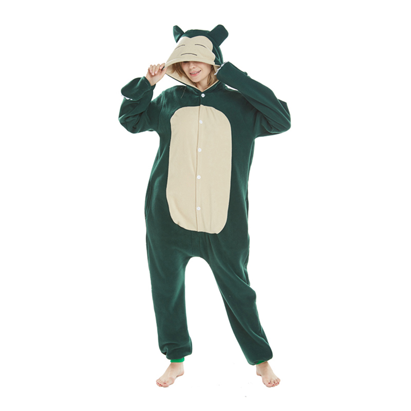 2018 New Onesie Wholesale Animal Pajamas Snorlax Onesies Adult Unisex Women Hooded Sleepwear Winter Jumpsuits ...