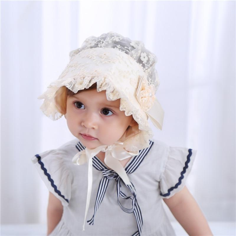 Bnaturalwell Baby Girls Bonnet Wedding Bonnet Toddler Hats Lace Flower Hat  Christening Bonnet Gift Newborn Photo Prop H057-in Hats   Caps from Mother    Kids ... 17346dc01818