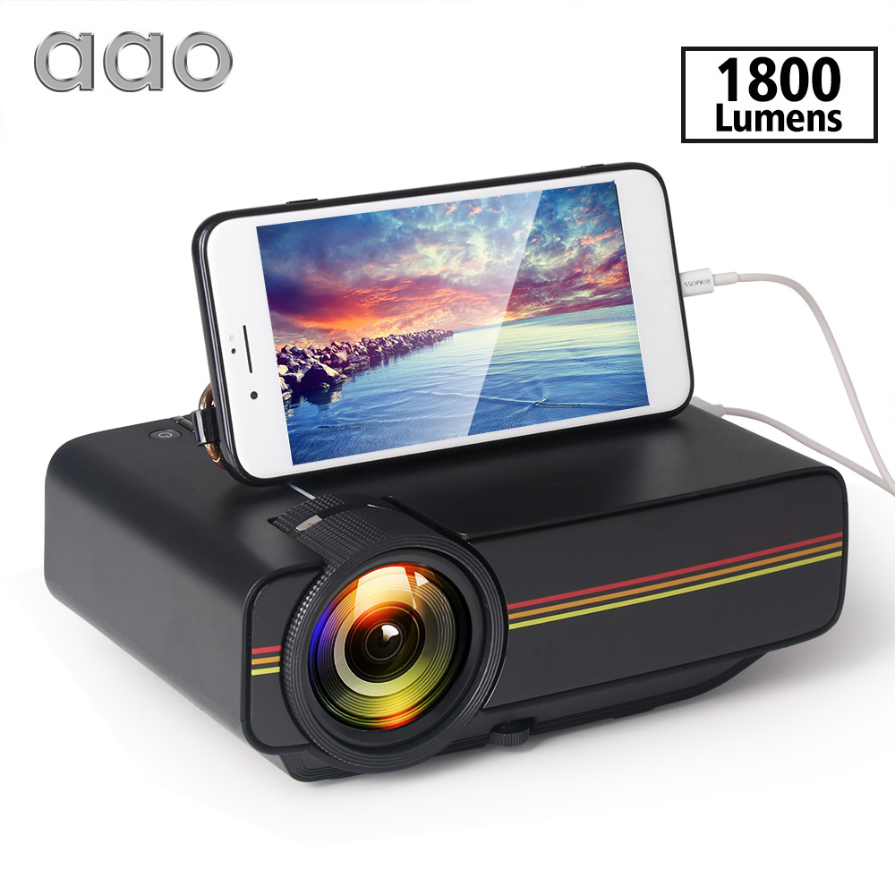 AAO YG400 up YG410 Mini Projector Wired Sync Display Portable Video For Home Theatre Support 1080P