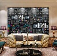 العرف papel دي parede 3 d ، بارد أسود رسائل إبهار اللون الجداريات النسيج خلفية التلفزيون جدار غرفة الجلوس