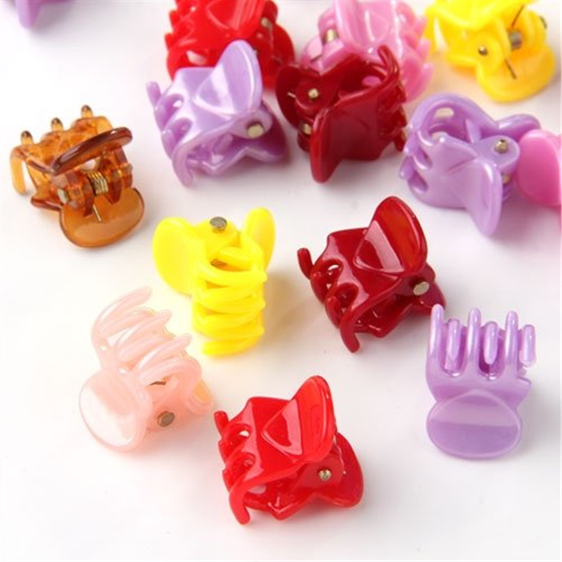 Lots 20pcs Colorful Assorted Mini Small Plastic Hair Clips Claws Clamps Tool New
