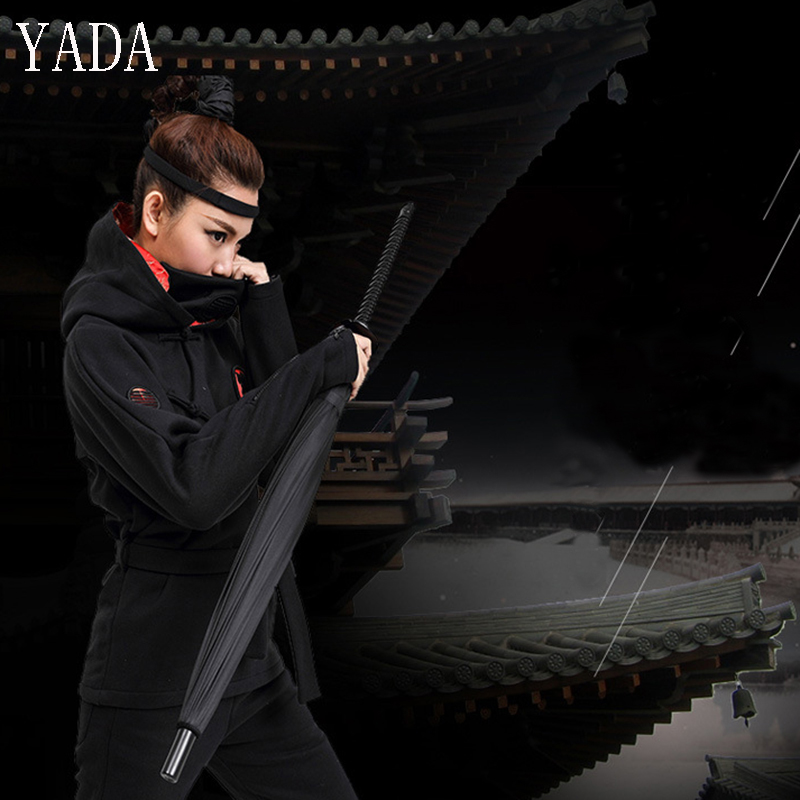 YADA 24K Black Brand Windproof Samurai Sword Sun Rainny Umbrella Ninja like Straight Long Handle Ribs Waterproof Umbrella YS303 in Umbrellas from Home Garden