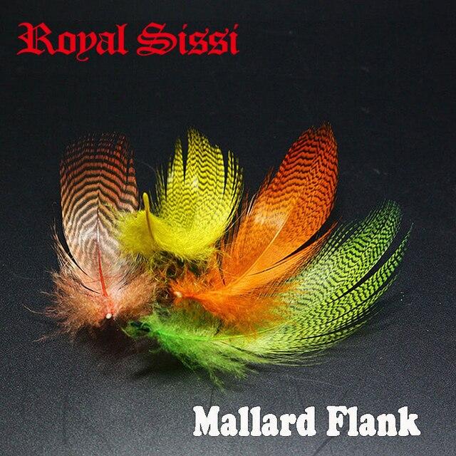 79bfa1d2755bc Ensemble de 5 couleurs Royal Sissi, plumes de canard colvert finement  barrées, plumes de canard sarcelle, truite, saumon, mouches mouillées, ailes,  ...