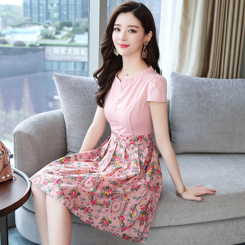 HAYBLST Brand Elegant Women Dress 2019 Summer Fashion Print Patchwork Pink Clothing Breathable Plus Size 2XL Korean Womens Dress-in Dresses from Women's Clothing on AliExpress - 11.11_Double 11_Singles' Day 1