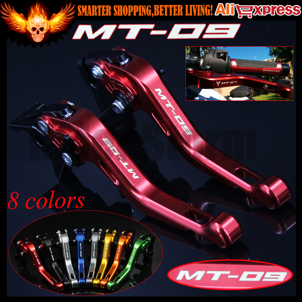 ФОТО For Yamaha FJ-09/MT-09 Tracer 2015 2016 Laser Logo(MT-09) 8 Colors New CNC Aluminum Red Motorcycle Short Brake Clutch Levers