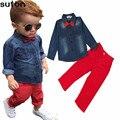 2017 Primavera Moda Casual ropa Para Niños Set Niños Bebés Ropa de Algodón Denim Camisetas de Manga Larga + Pantalones Rojos Niños ropa 3-8Y
