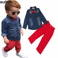 2017 Spring Fashion Casual Children's Clothing Set Baby Boys Clothes Cotton Denim Long Sleeve Shirts+Red Pants Kids Clothes 3-8Y