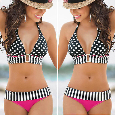 2016 Summer Women Sexy Swimwear Beach Boho Dot Bandage Bikini Bra Set Swimsuit Bathing suit