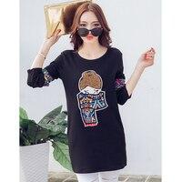 Poleras 드 Mujer 모다 2017 겨울 자수 T 셔츠 여성 긴 소매 느슨한 한국어 스타일 인쇄 T 셔츠 티 팜므 5xl