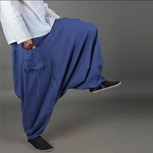 Einzigartiges Design Männliche Vintage Großen Schritt Hosen Breites Bein Schnürung Hosen Chinesischen Stil Männlichen Casual Hosen Wasserwäsche Low-aufstieg Hosen