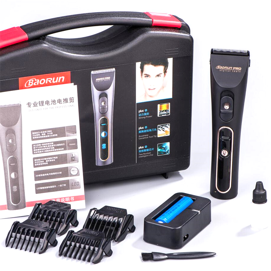 Professional Electric Hair Clipper Titanium Blade 2000mA Battery Men's Beard Trimmer LCD Display Hair Cutting Machine For Salon 100 240v extra battery lcd tungsten steel blade hair trimmer electric hair clipper cutting machine shearer trimmers c 28