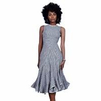 Vintage Style Plaid Printed Fashion Woman Midi Dress Elegant Ladies Casual Party Wear O Neck Sleeveless