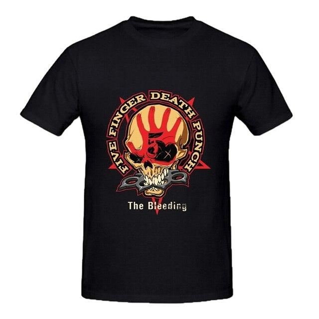 Мода футболки Five Finger Death Punch Кровотечение мужская Расслабленной Подходят Хлопка Вокруг Шеи Футболку человек футболки