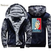 цена Rick Science Hoodie Coat Men Funny Hooded Sweatshirt 2018 Winter Warm Fleece Thick Zipper Anime Jacket Hip Hop Brand Streetwear