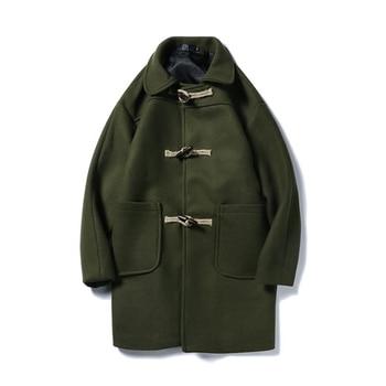 Slim Men Overcoat Wool Blend Collar Black Korean Duffle Man Coat Buttons Harajuku Casacos Masculino Mens Long Overcoats 5N002