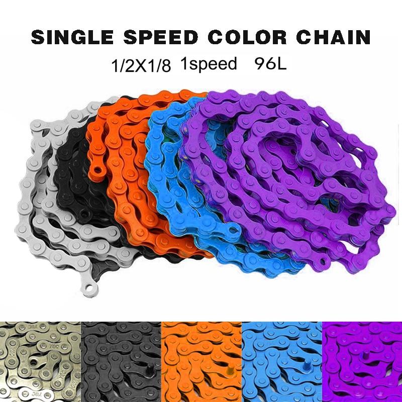 "Bicycle Bike Chain Single Speed 1//2/""x1//8/"" Coloured MTB BMX Fixie Fixed Gear 96 L"