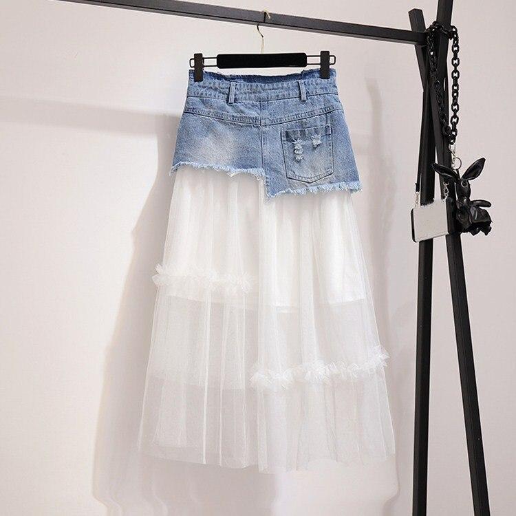 2019 Summer Asymmetrical Denim Skirts Set Women Patchwork Mesh Sweet Suits Off Shoulder Ruffles Shirts Two Piece Sets