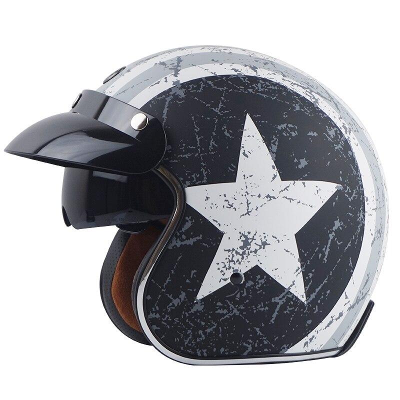 TORC Brand Vintage Motorcycle Helmets Open Face Jet Helmet Vespa Scooter Helmet MOTO Pilot Helmet With