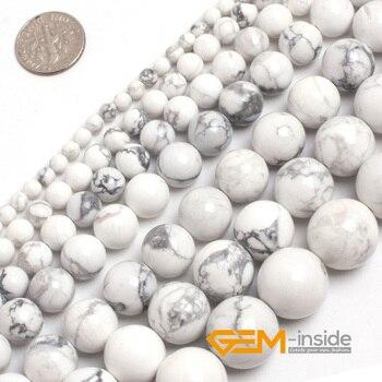 Круглые бусины Howlite из натурального белого камня для изготовления ювелирных украшений, нитка 15 дюймов, для самостоятельного изготовления о...