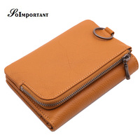 New Vintage Small Women Wallets Female Genuine Leather Coin Purse Zipper Lady Purse Portomonee Magic Trifold Mini Walet Key Ring