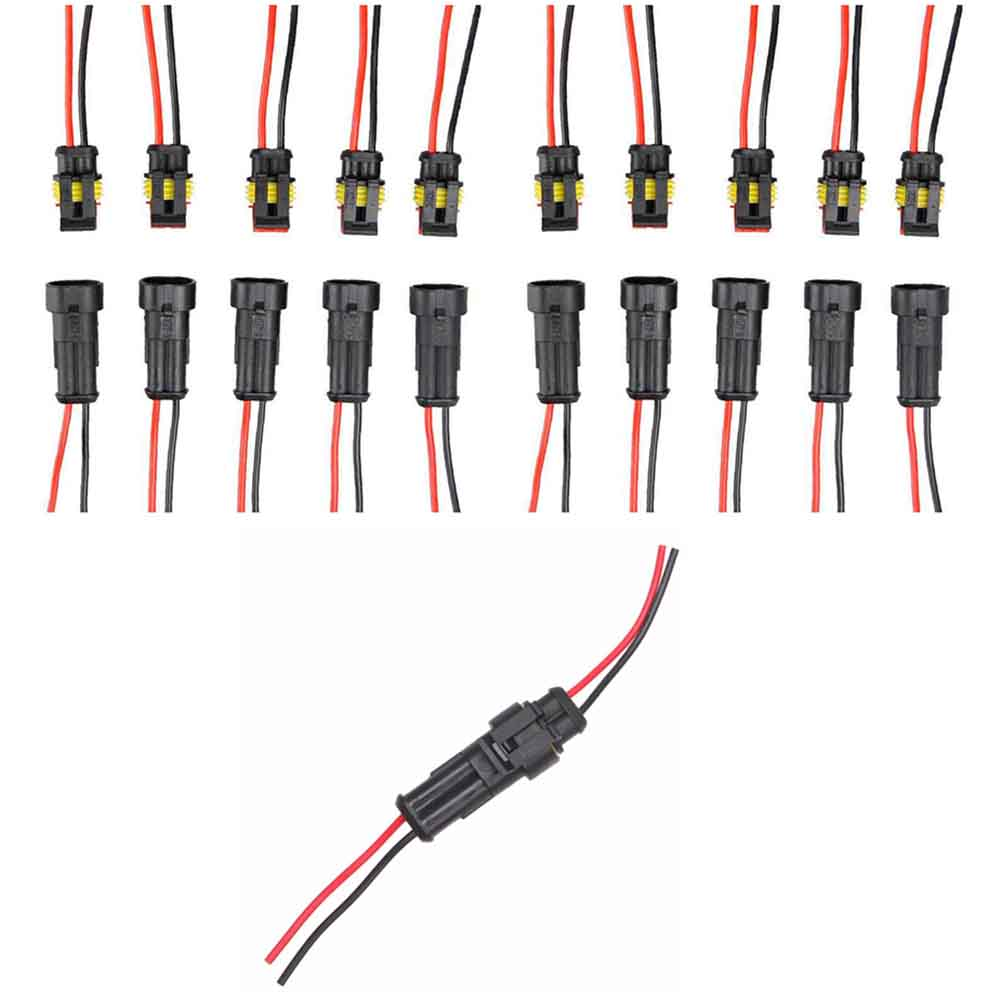 10x Car Auto 2 Pin Way Sealed Waterproof Electrical Wire Connector Plug Socket brand new high quality 4 way pin 6 3mm car electrical terminal block multi connector plug socket kit