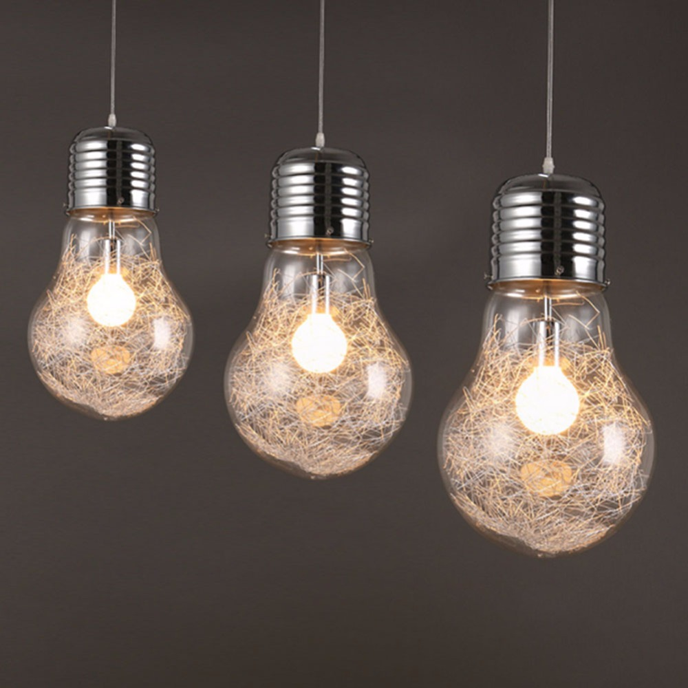 Brief Personalized Glass Big Bulb Pendant Light Bar Counter Aisle Lights Pendant Lamps Dia15cm 25cm 30cm