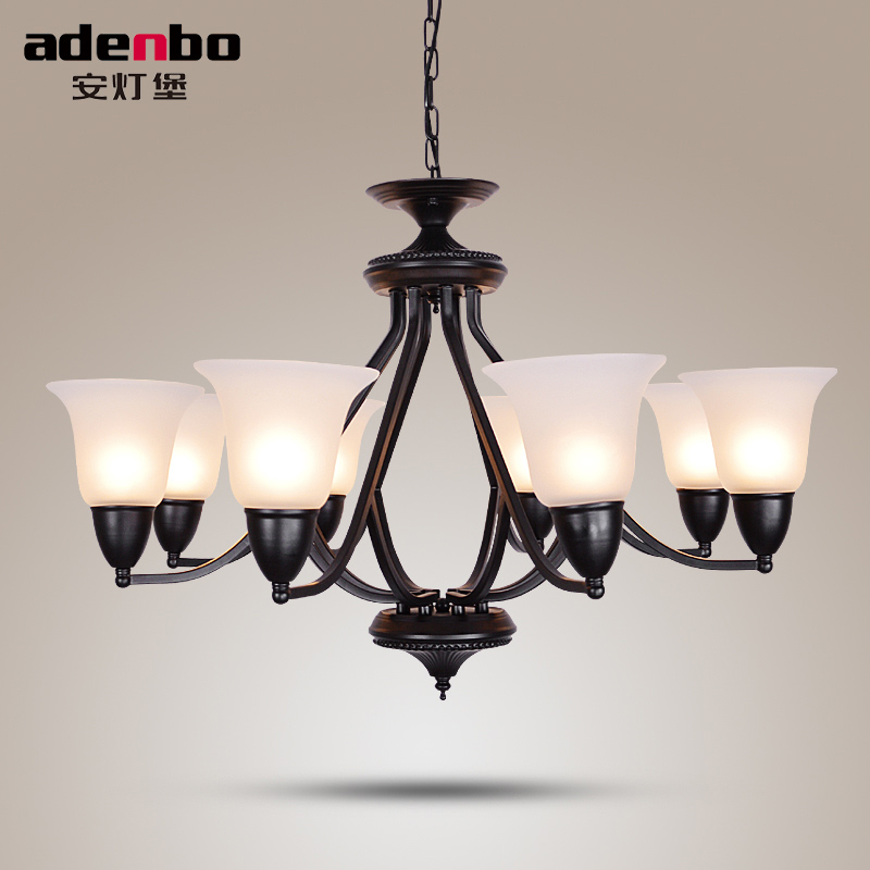 LED Chandelier Lighting Fixtures Black Iron Vintage Chandeliers With Glass Shade LED Lamp For Living Room And Dining Room american style black wrought iron vintage led chandelier lights fixtures candle chandeliers for room lighting 3018
