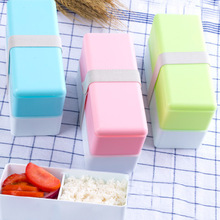 3 Colors High Quality Double Layers Large Capacity Portable Lunch Box Bento Food Storage Lunchbox
