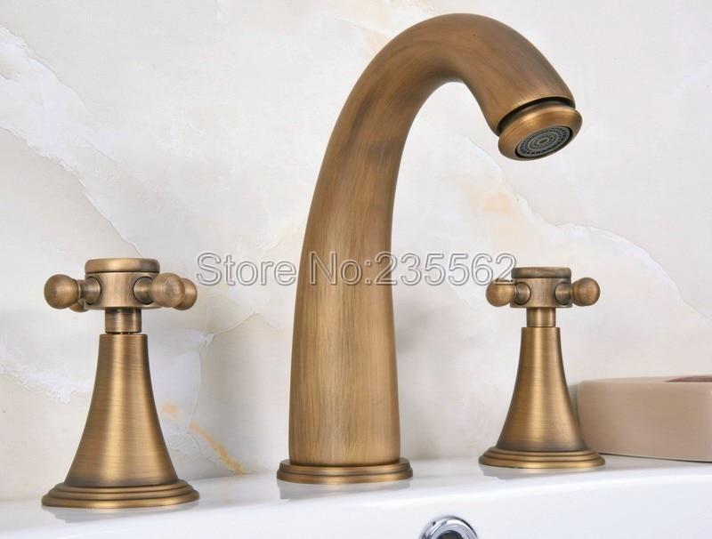 Classic Widespread Bathroom Basin Faucet Antique Brass Bathtub Mixer Vessel Sink Taps Dual Handle lan080Classic Widespread Bathroom Basin Faucet Antique Brass Bathtub Mixer Vessel Sink Taps Dual Handle lan080