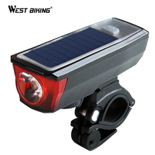 hot deal buy west biking solar powered bike bicycle front light function led lamps with bell rechargeable light lamp headlights for cycling