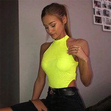 2019 3 Colors Halter Sexy Bodysuit Women Fluorescent Bodycon Sleeveless Jumpsuit Summer Overalls Streetwear