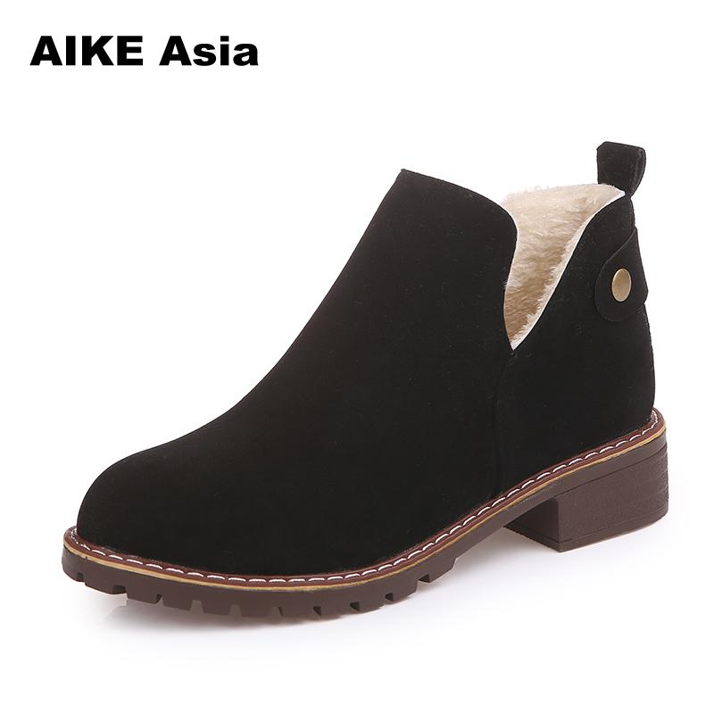 2018 Women Boots Lace Up Solid Casual Ankle Boots Martin Round Toe Women Shoes Winter Snow Boots Warm British Plush Short #A-2 serene handmade winter warm socks boots fashion british style leather retro tooling ankle men shoes size38 44 snow male footwear