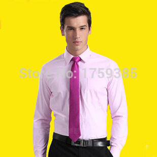 2d754fff377f business formal pink men shirts loose non-iron and long sleeve shirt solid  color pink shirt Men tide mens full sleeve shirts