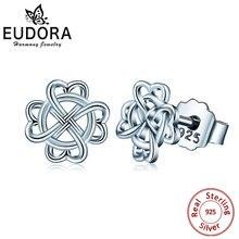 Серьги гвоздики eudora 925 пробы серебро Ирландия Селтикс любовь