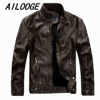 AILOOGE Leather Jacket Men Stand Collar New Mens leather PU Jackets + Locomotive style Men's Slim Fit Leather Male Outerwear