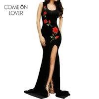 Comeonlover Long Vestidos Verano 2017 Sleeveless Side Split Robe Sexy Flower Embroidery Black Dress Women VE1066