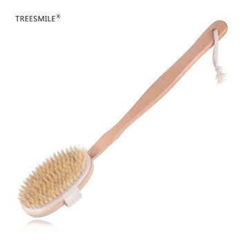 Fabricantes de cepillos de baño TREESMILE, venta al por mayor, cerda natural, cepillo de masajes para baño exfoliante con mango de mano desmontable D30