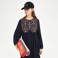 La MaxZa 2018 Floral Dress For Women Trendy Embroidery Royal Blue Ethnic Casual Dress O Neck Long Sleeves Blue Dresses 101003